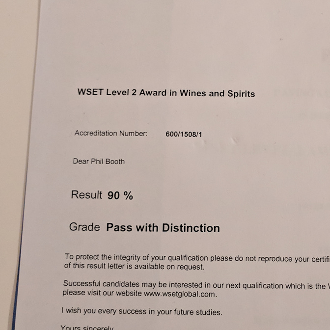 Result letter for the WSET level 2, showing a 90% result